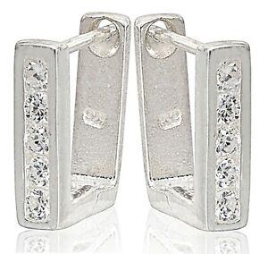 Earrings 925 Sterling Silver Square Ear Stud Hoop Huggie Crystal