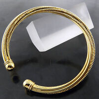 FSA656 GENUINE REAL 18K YELLOW G/F GOLD CLASSIC ANTIQUE CUFF BANGLE BRACELET