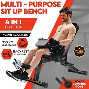 Adjustable Weight Dumbbell Bench Press Sit up Bench Fitness Incline Home Gym AU