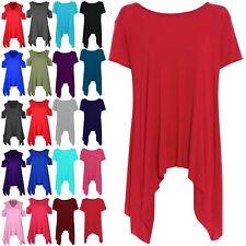 Womens Ladies Cap Sleeves Dip Hem Floral Heart Print Hi Low Tunic Top Dress