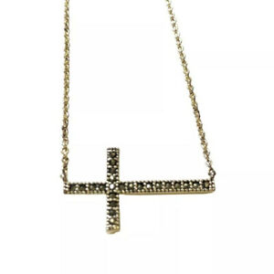 "Marcasite Sideways Cross Necklace Fine Silver Plated Fashion Pendant 18""Jewelry"