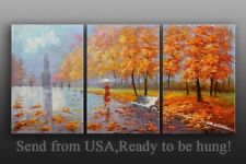 Birch tree oil painting Landscape On Canvas palette Knife Framed