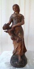 Statue doux fardeau par Campagne en plâtre fin XIXe