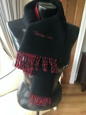 Christian Dior red/black reversible wool scarf with embroidered Dior logo
