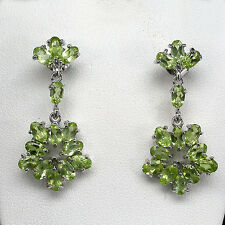 Sterling Silver 925 Oval Cut Genuine Natural Peridot Open Centre Drop Earrings