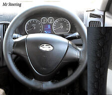 FITS HYUNDAI SANTA FE MK1 ITALIAN TOP QUALITY BLACK LEATHER STEERING WHEEL COVER
