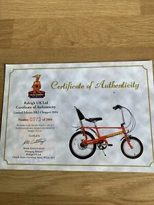 Raleigh Chooper Mk3 Special Edition Certificate No 0573