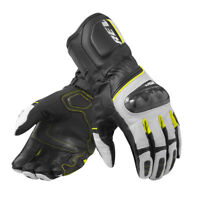 GUANTI GLOVES IN PELLE RSR 3 NERO GIALLO NEON REV'IT SIZE XXL