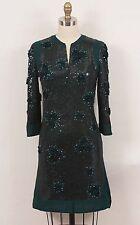 Valentino Dark Green Silk Chiffon Sequins & Appliques Cocktail Evening Dress 0/2