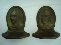 RARE VINTAGE ORIGINAL GEORGE WASHINGTON COPR. 1928 PAIR CAST IRON BOOKENDS