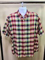 Woolrich Men's Short Sleeve Cotton Red Blue Plaid Button Front Shirt XL