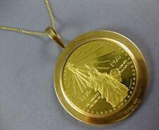 ESTATE EXTRA LARGE 18KT YELLOW GOLD 3D CARTIER 1776 1976 LIBERTY COIN PENDANT