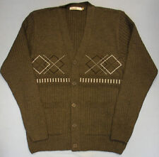Adults Mens Button Cardigan Jacquard Style Knit Design Jumper Knitted Pockets 31 L Navy