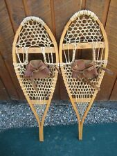 "VINTAGE SNOWSHOES 36"" Long x 11"" Wide FABER with Leather Bindings READY TO USE"