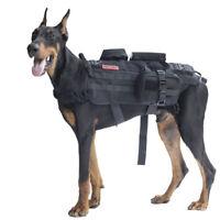 OneTigris Tactical Dog Training Vest Molle Harness w/ Detachable Pouches M/L/XL