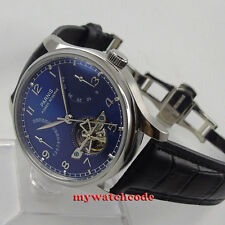 43mm parnis blue dial deployment clasp power reserve automatic mens watch 547E