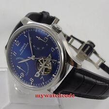 43mm parnis blue dial deployment clasp power reserve automatic mens watch 547E