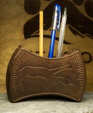 Pen holder pencil organizer case desktop accessory pens storage cedar handmade