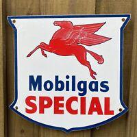 VINTAGE MOBIL GAS SPECIAL PORCELAIN METAL SIGN USA OIL SERVICE SHIELD PEGASUS