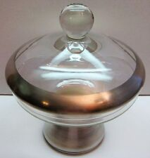 "6"" Dorothy Thorpe Wide Silver Band Crystal Glass Candy Dish w/ Lid 5 5/8"" Dia."