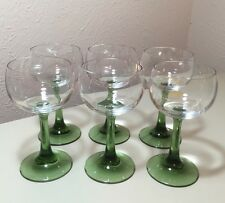 "Vintage Schott Zwiesel Crystal Green Stem Wine Glasses 5.5"" Set Of 6 VHTF"