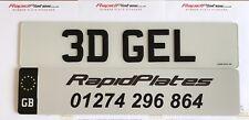 3d Black Resin Gel UK Font Raised Domed Car Number Plate Pair Road Legal