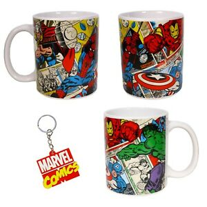 MARVEL COMICS - Spiderman Thor Hulk Iron Man Capt USA  Mug & Keyring - Gift Set