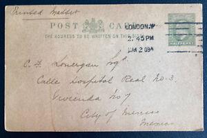 1908 London England Postcard Postal Stationery Cover To Mexico City Mexico