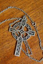 Vintage Jem 73 Celtic Gothic Emo Cross Pendant Necklace