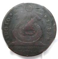 1787 Fugio Cent 1C Colonial Copper Coin - Certified PCGS VF Details - Rare!