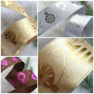 1m x 40mm WIRED Heavy Satin Christmas Ribbon Brown White with Silver & Gold