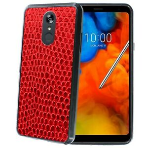 Shockproof Bumper Phone Case for LG Stylo 4,5,V40,G7,Red Leather Texture Print