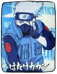 Naruto Shippuden Kakashi Hatake Japanese Script Super Plush Fleece Throw Blanket