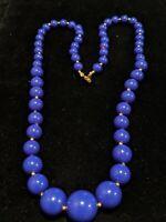 Vintage Estate Gold Tone Purple Graduated Bead Necklace