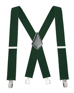 "Buyless Fashion Mens Suspenders 48"" Elastic Adjustable Heavy Duty 2"" Wide X Back"