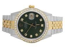 Rolex Datejust 2 Tone 18K/ S.Steel 36MM Quickset Green Dial Diamond Watch 3.0 Ct