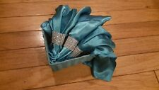 """12 Silky SATIN 20x20"""" NAPKINS Linens Catering Decorations- W/faux diamond ring"""