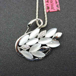 Charm White Opal Crystal Cute Swan Pendant Betsey Johnson Necklace/Brooch