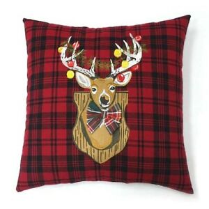 """NEW St. Nicholas Christmas Stag Reindeer Embroidery 18"""" Throw Pillow Red Plaid"""