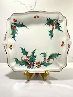 "VILLEROY & BOCH Holly Pattern Square Handled Cake Plate 9 1/2 "" x 8 1/2"""