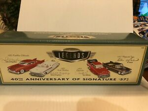 1/64 HOT WHEELS 100% 1957 LEGENDS SET CADILLAC, FORD, CHEVROLET & PLYMOUTH &CASE