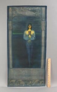 1920s Antique MORNING STAR Lithograph Art Deco Ethereal Woman SCIENCE OF BEING