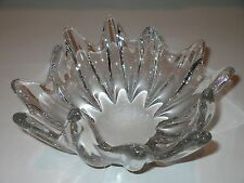 "9"" DAUM FRANCE ART Crystal GLASS Centerpiece Clear BOWL France STARFISH"