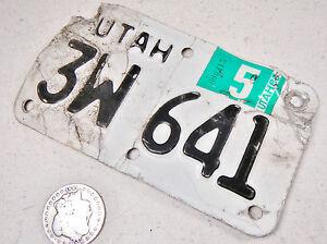UTAH MOTORCYCLE LICENSE PLATE 3W 641
