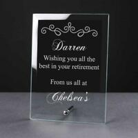 Personalised Engraved Retirement Glass Plaque Sentiment Gift RET-GLP-2