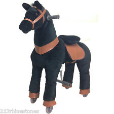 BLACK Ride-on Giddy Up Horse / Pony Rides. For boys & girls 4-10 (02EB)-REFURB