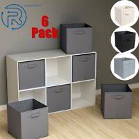 6Pcs Set Foldable Fabric Storage Box Bin Large Cloth Organizer  Collapsible Cube
