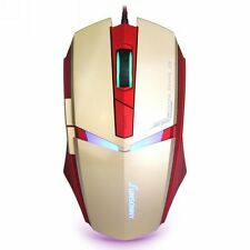 Wired Optical USB Gamin Mouse,  6-Button USB Game Mice adjustable speed iron-man