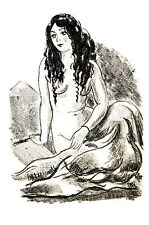 Andre Dignimont NUDE WOMAN w LONG DARK HAIR 1925 Vintage Art Print Matted