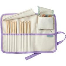 Clover Bamboo Interchangeable Tunisian Crochet Hook Set with Cords & Stoppers
